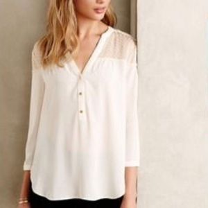 ANTHROPOLOGIE Maeve Vantaa Henley Lace Blouse